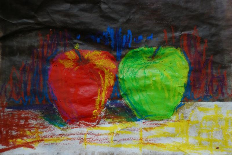 acryliques et pastels gras sur papier recycl�